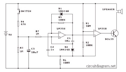 Simple Mic Pre-Amp based LM358 | Electronic Schematic Diagram