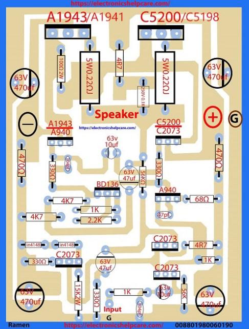 Transistor circuit diagram using A1941 and C5198