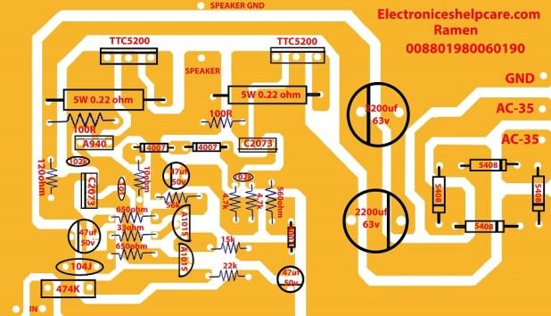 how to make an amplifier using transistor TTC5200