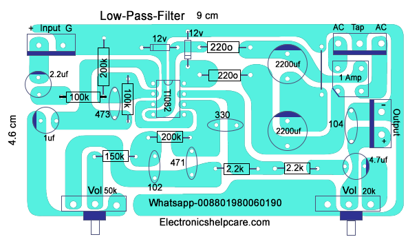 How to make only bass circuit diagram? low pass filter ...