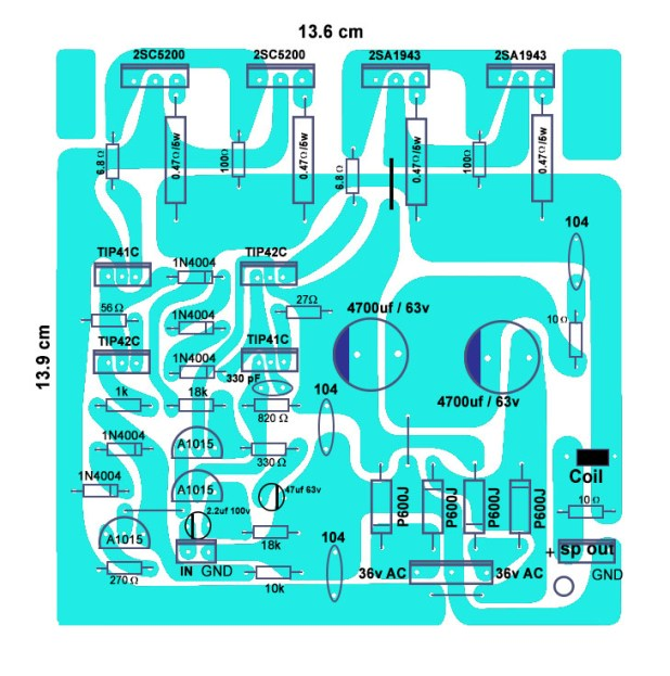 how to make 4 transistor amplifier circuit board 200 Watts? electronics