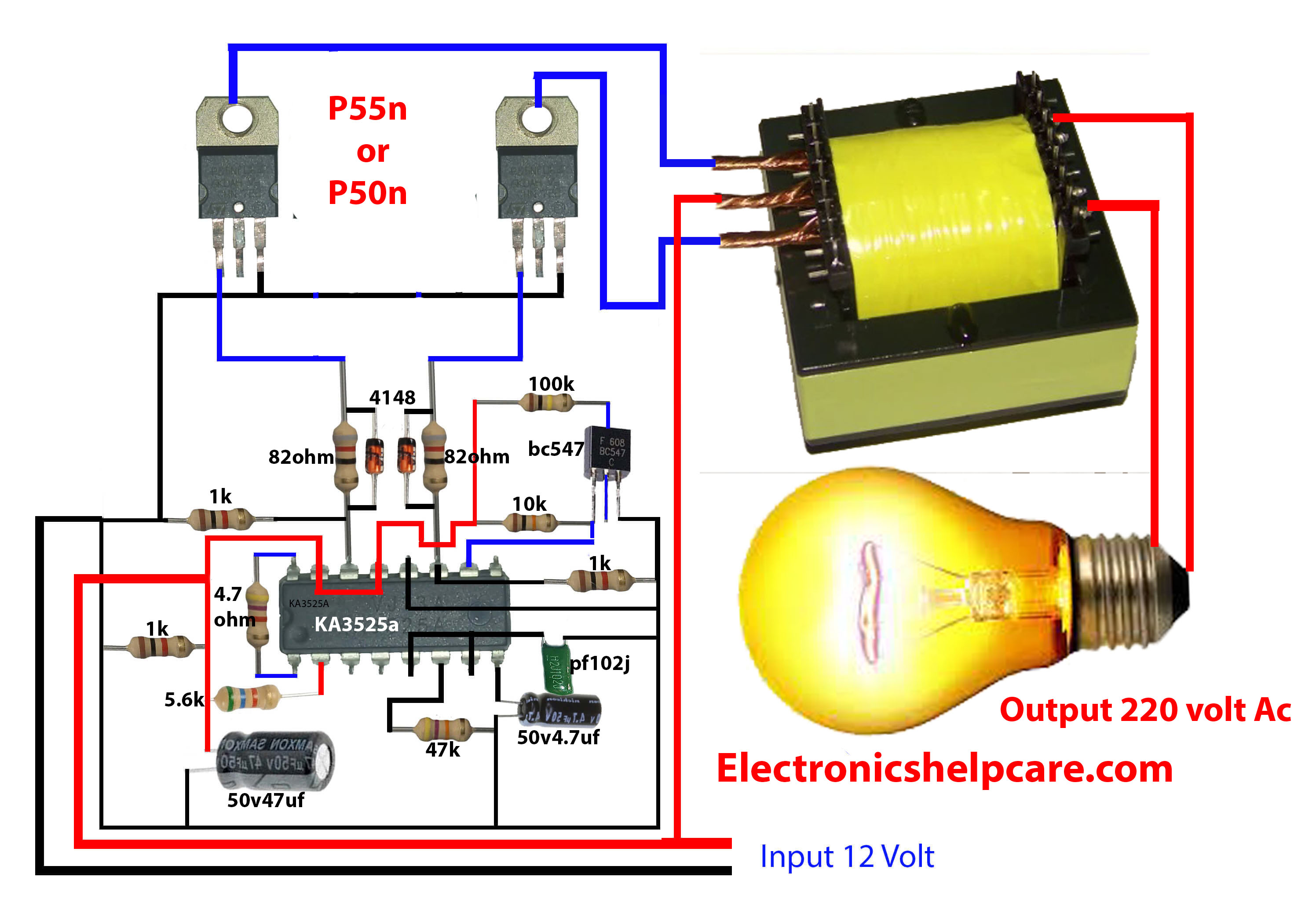 How To Make Inverter 12v Dc To 220v Ac Making Circuit Diagram Making Transformer Electronics Electronics Help Care