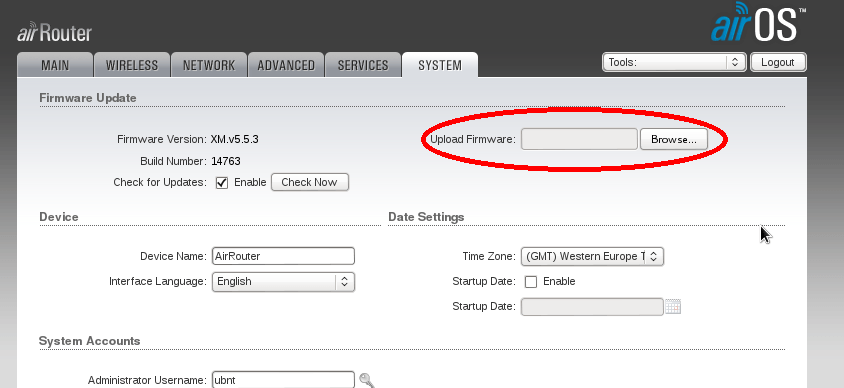 Downgrade to AirOs from ddwrt or third party firmware in Ubiquiti