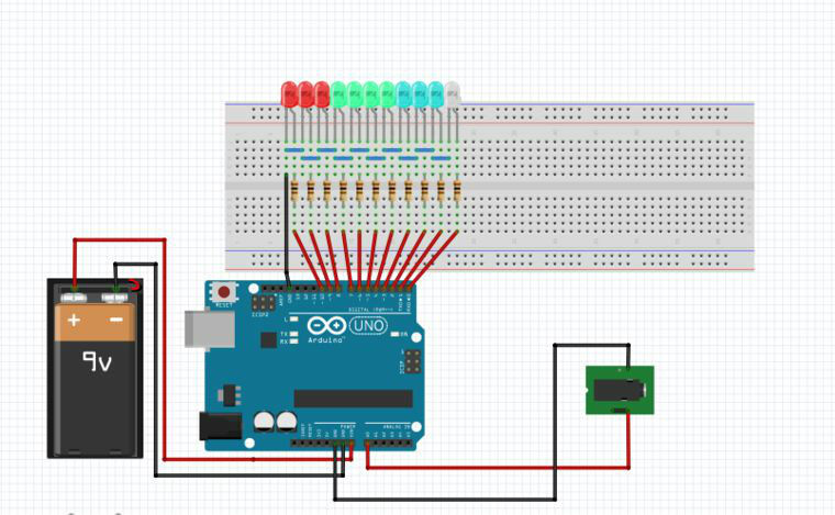 vu meter circuit using arduino