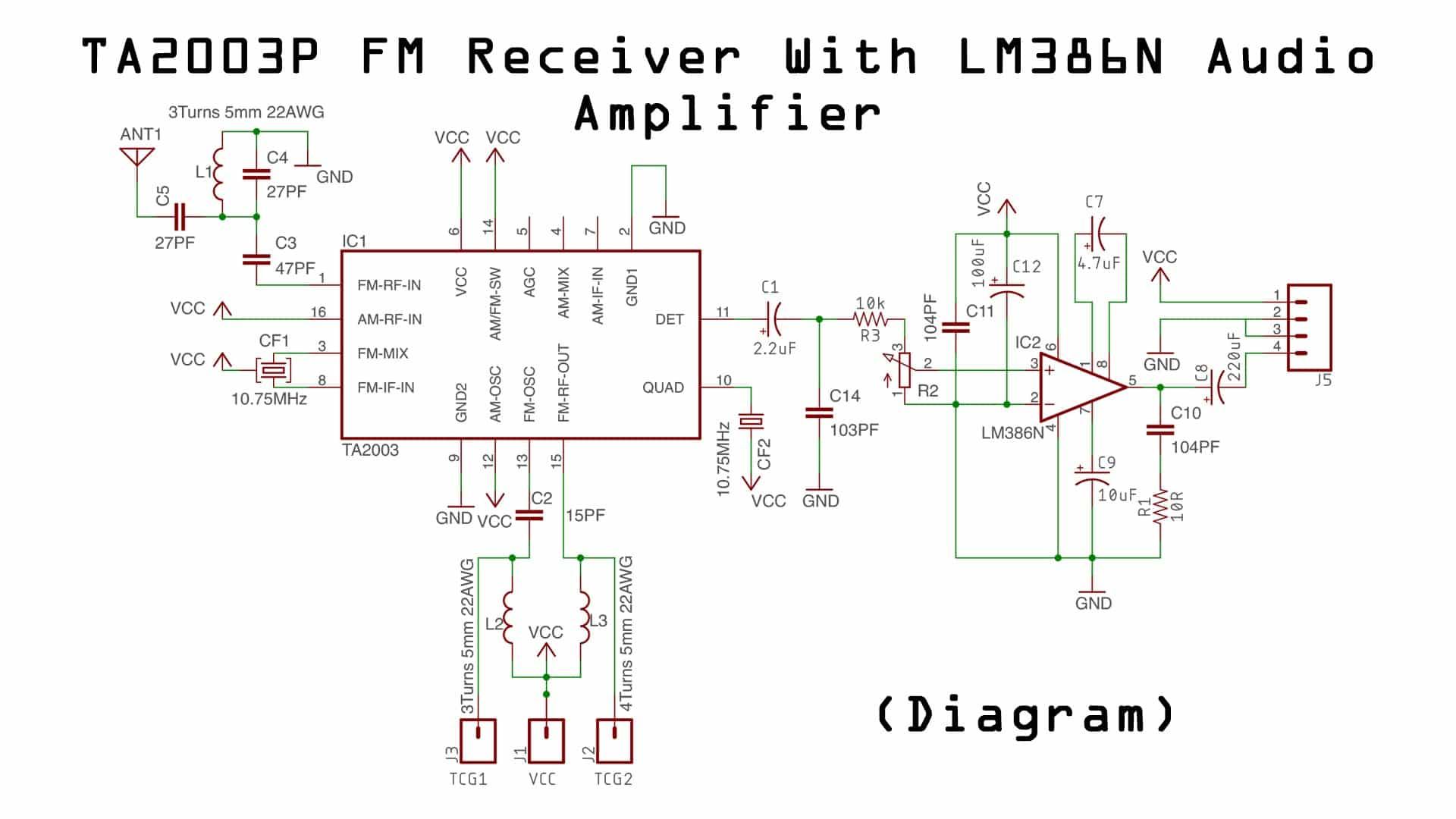 TA2003P FM Receiver (Diagram) - Electronics Projects Hub