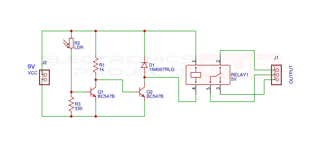 Dark light sensor switch circuit