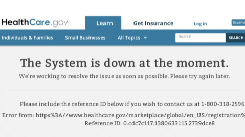 Obamacare Web Error Message