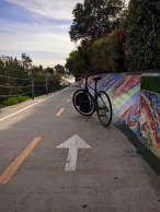 Our hybrid e-bike on the Ballona Creek Bike Path.