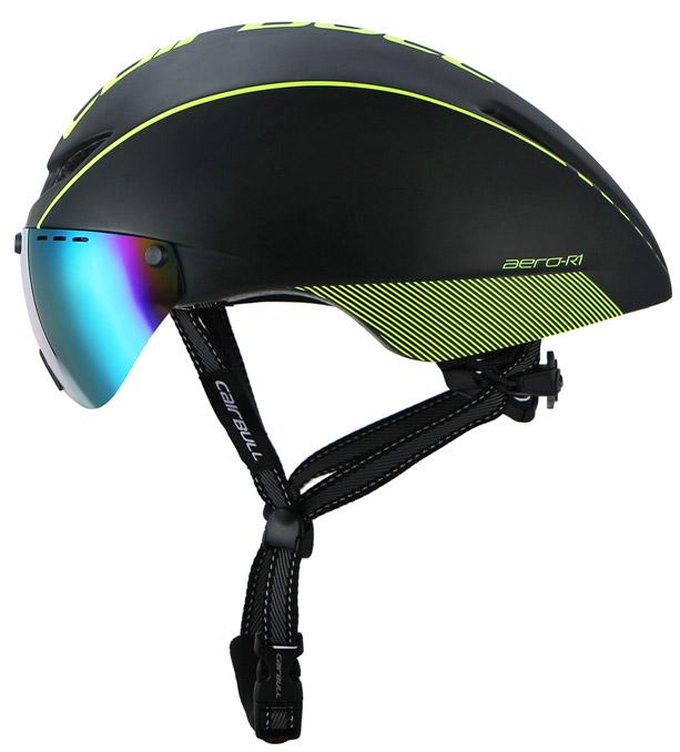 Каплевидный велошлем с пристегивающимися очками.
