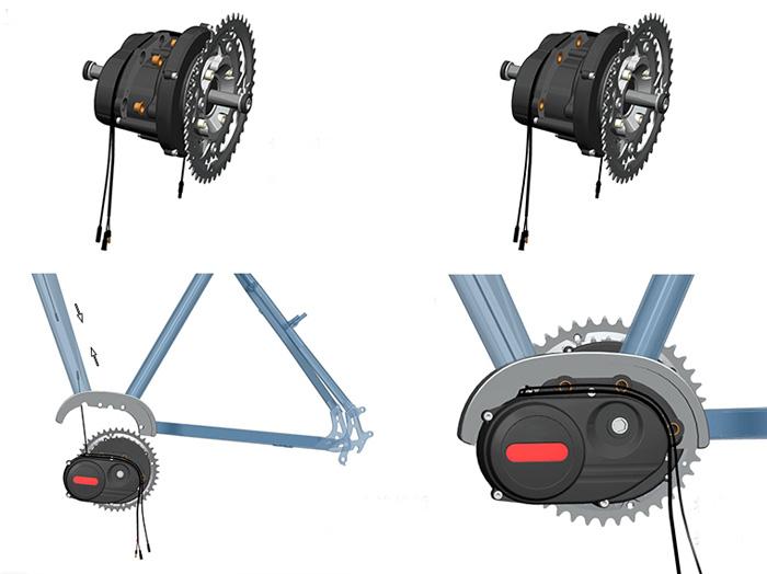 Система с электромотором Mid-drive TSDZ-3 для установки в специально разработанную раму кареточный мотор
