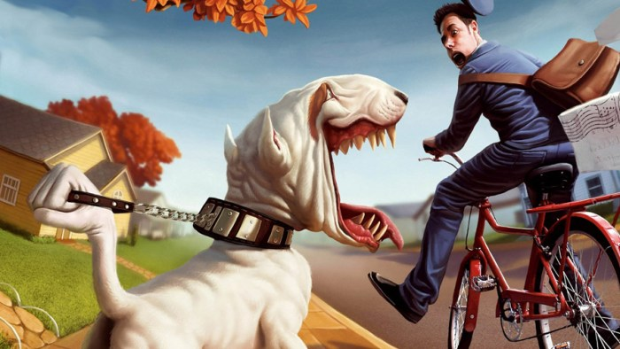 Велосипедист и собаки