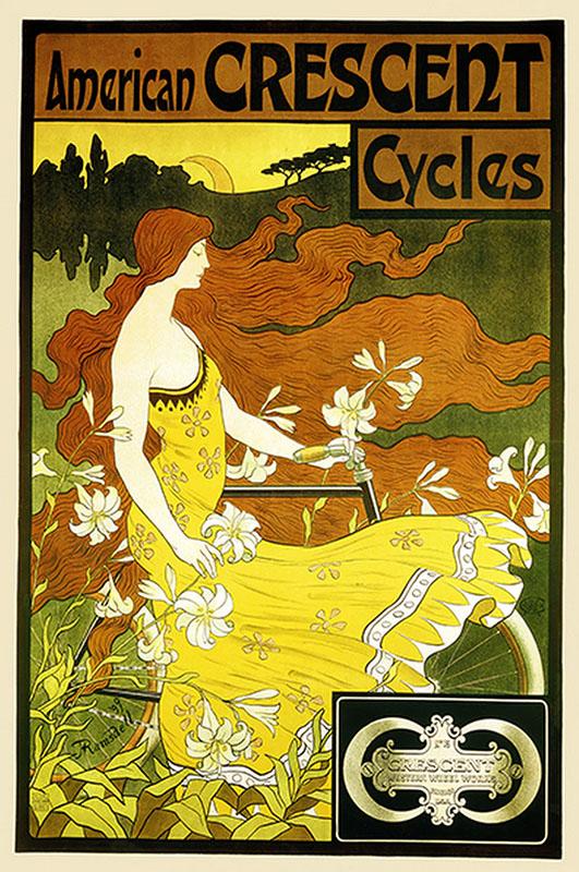 арт-нуво постер реклама велосипед
