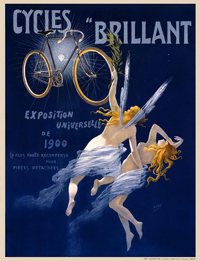 "Копия французского постера 1900 года ""Cycles Brillant""."