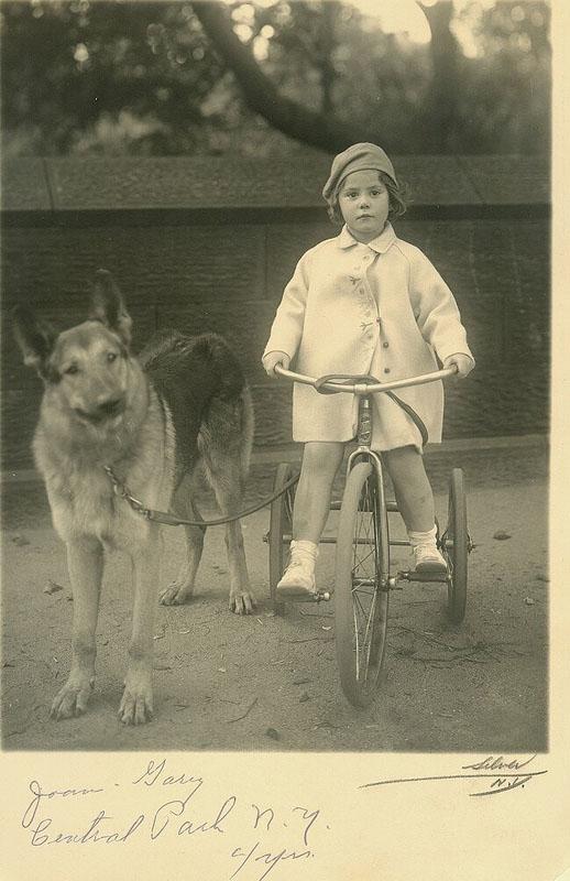 портрет девочки на трехколесном велосипеде и овчарки