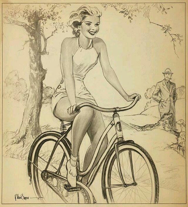 картина девушка на велосипеде