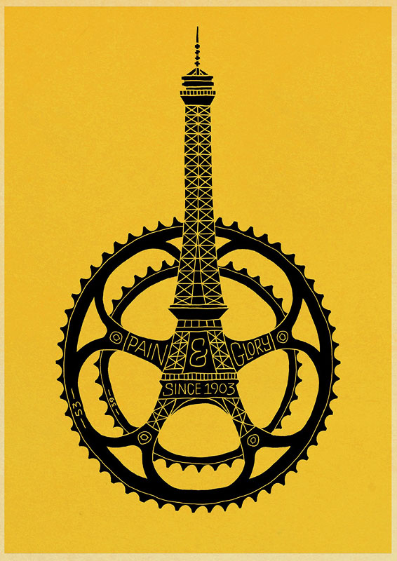 постер париж велосипед