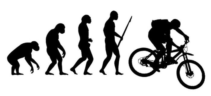 """Виниловый стикер """"Эволюция велосипедиста"""""""