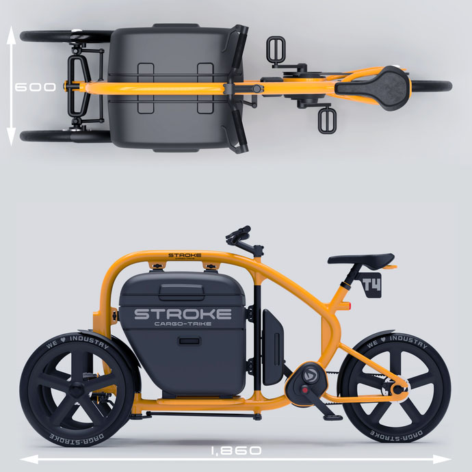 грузовой электровелосипед Stroke Cargo Trike дизайн