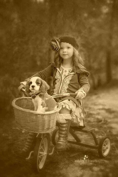 девочка и собачка на трехколесном велосипеде с корзинкой ретрофотография
