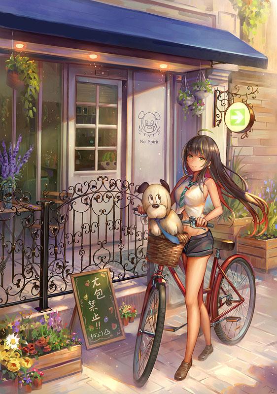 аниме девушка велосипед
