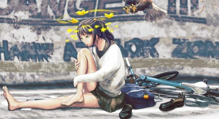 девушка падение с велосипеда аниме