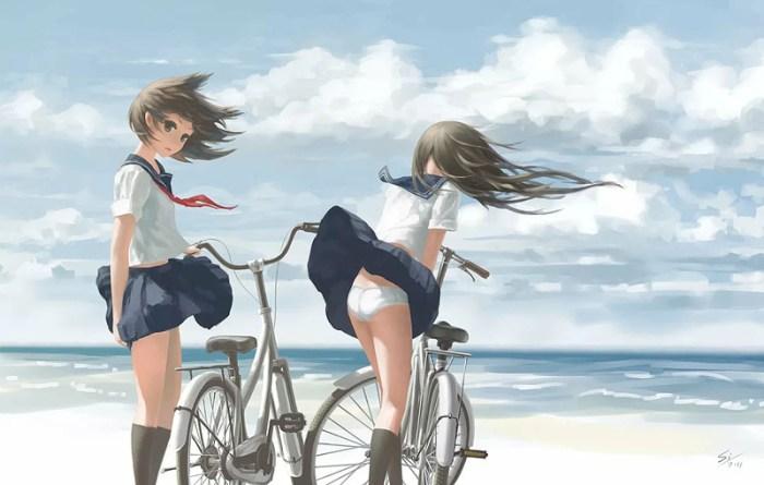 аниме девушки дорожный велосипед