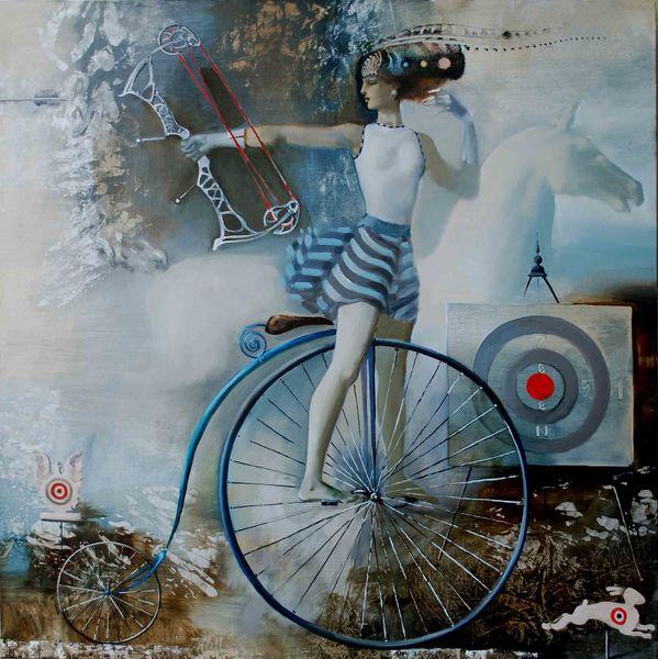 лучница на велосипеде живопись