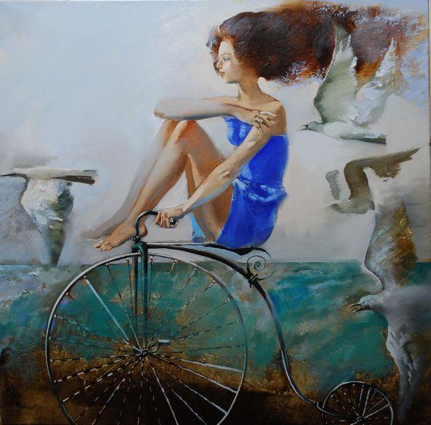 живопись велосипед море