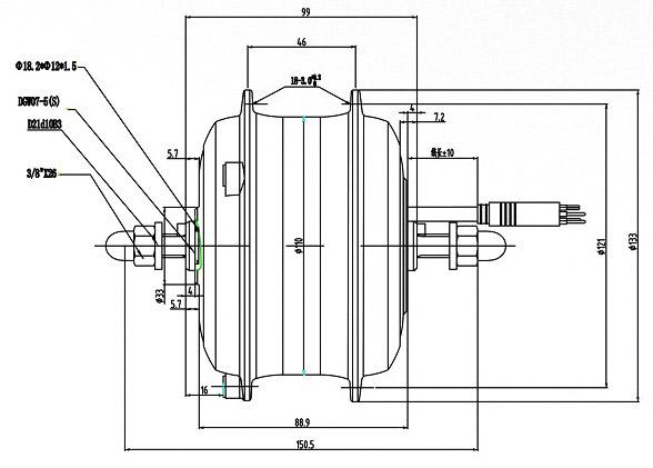 мотор колесо Shengyi DGW23N чертеж