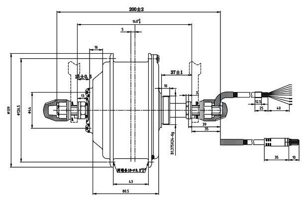 Shengyi DGW07C-MD чертеж мотор-колеса