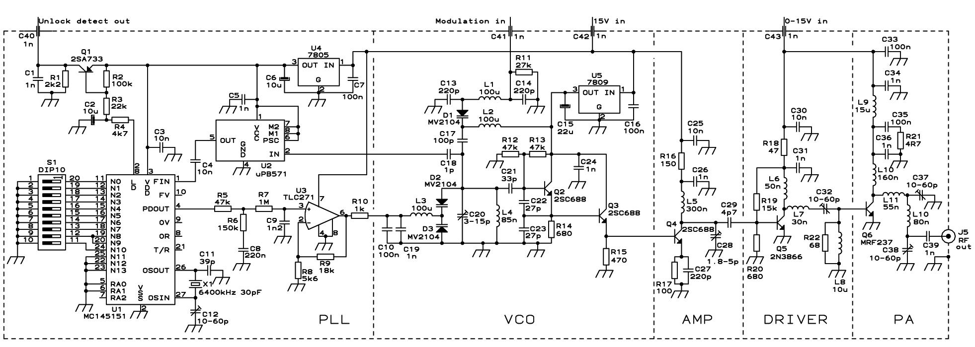 PLL FM Transmitter Circuit