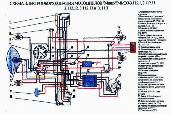 Схема проводки мотоцикла минск 12 вольт