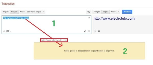procedure de tradution lien avec google traduction