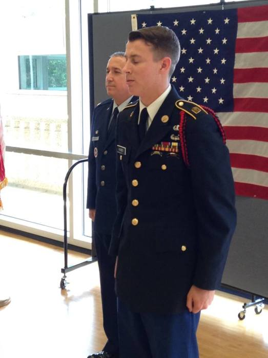 My son Matthew being promoted to LSU ROTC Corps Commander