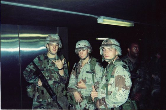 My buddies and I waiting to leave for the Gulf War