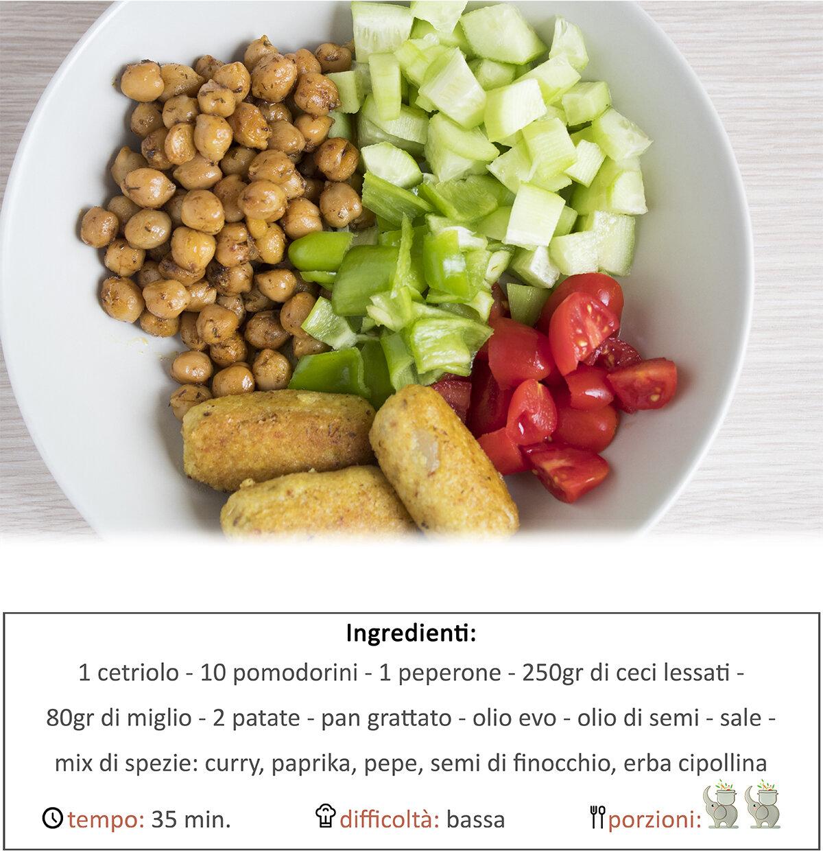 Bowl di crocchette, ceci speziati e verdure crude