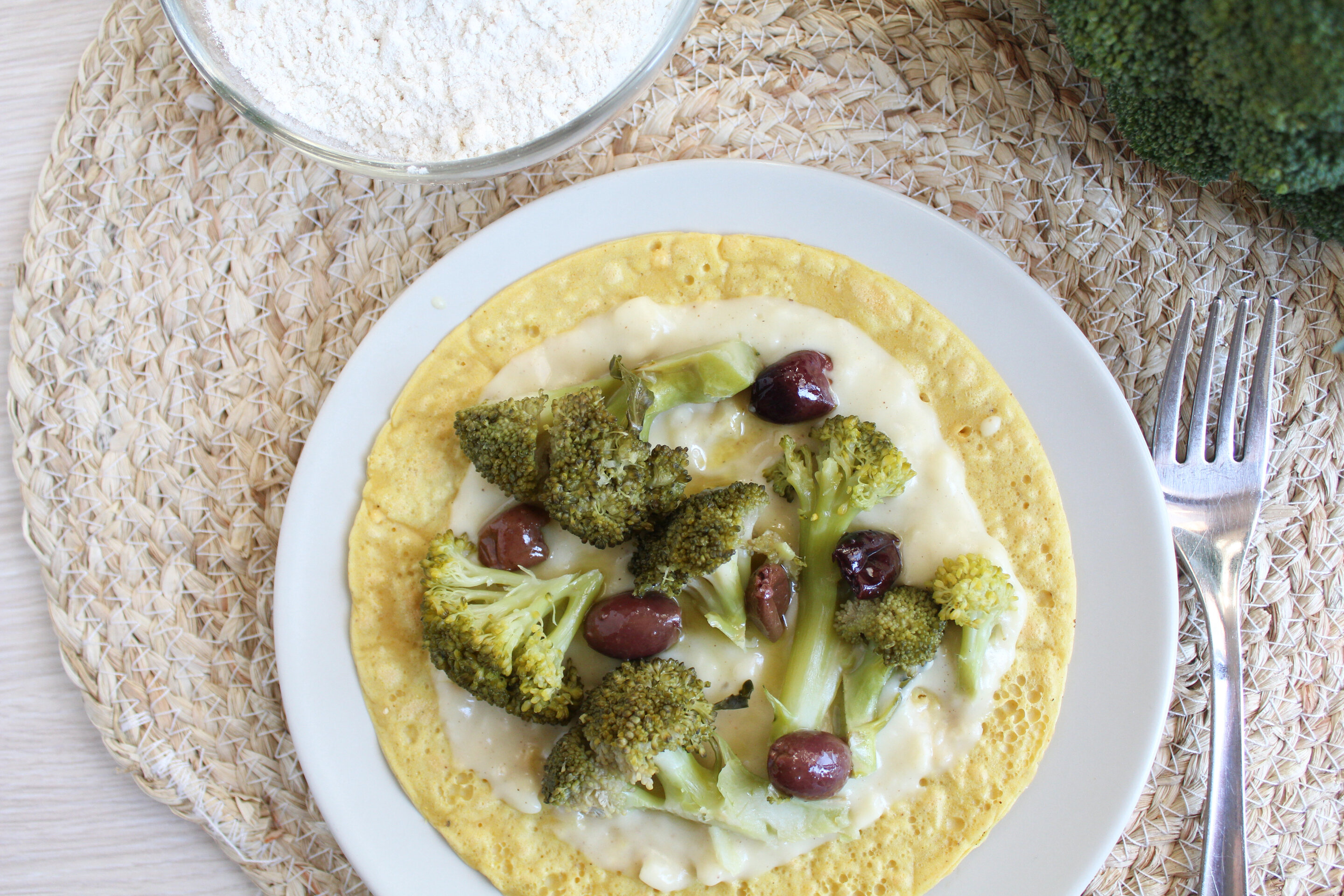 Crespelle al curry con broccoli e olive