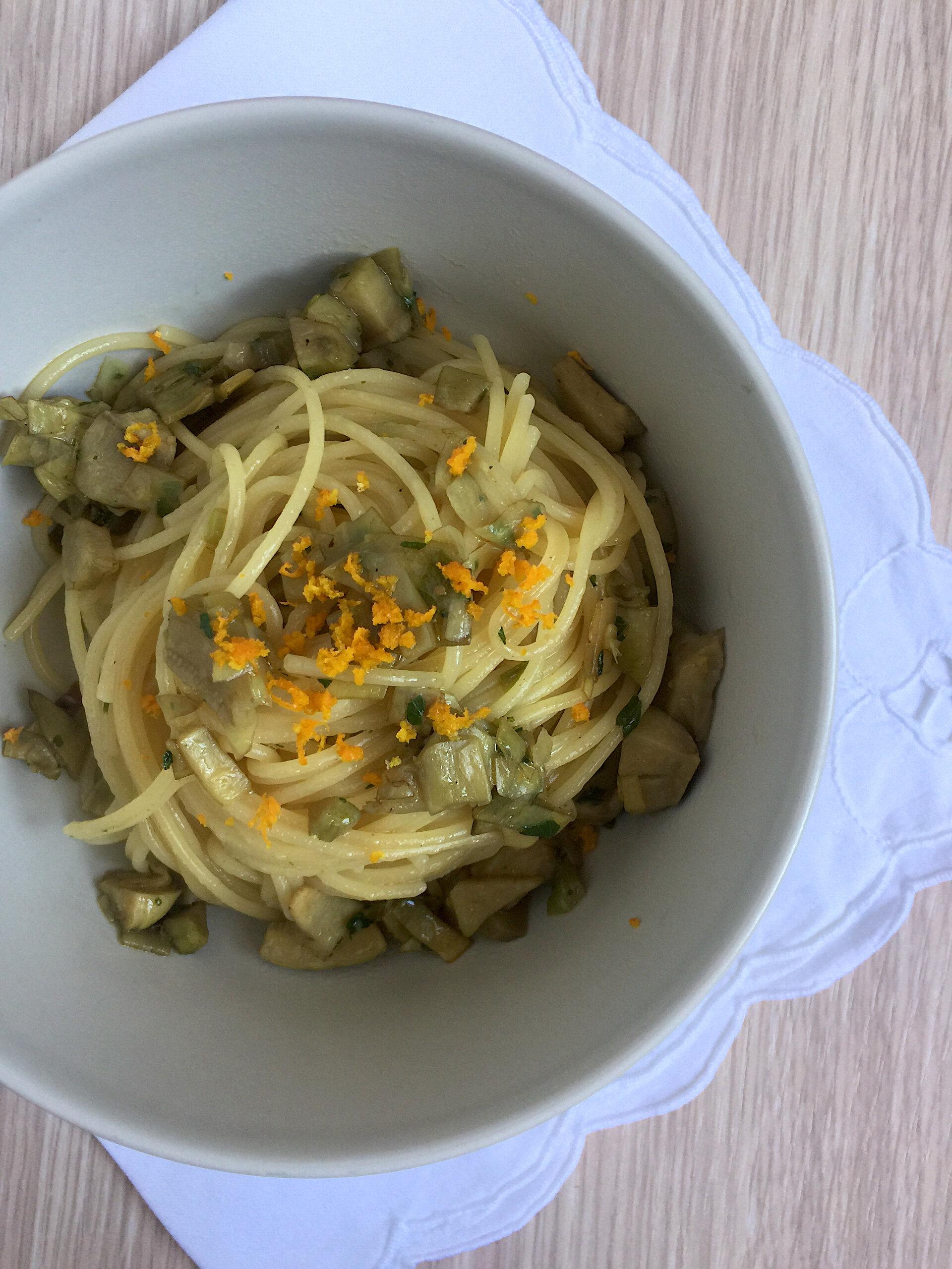 Spaghetti carciofi e arancia