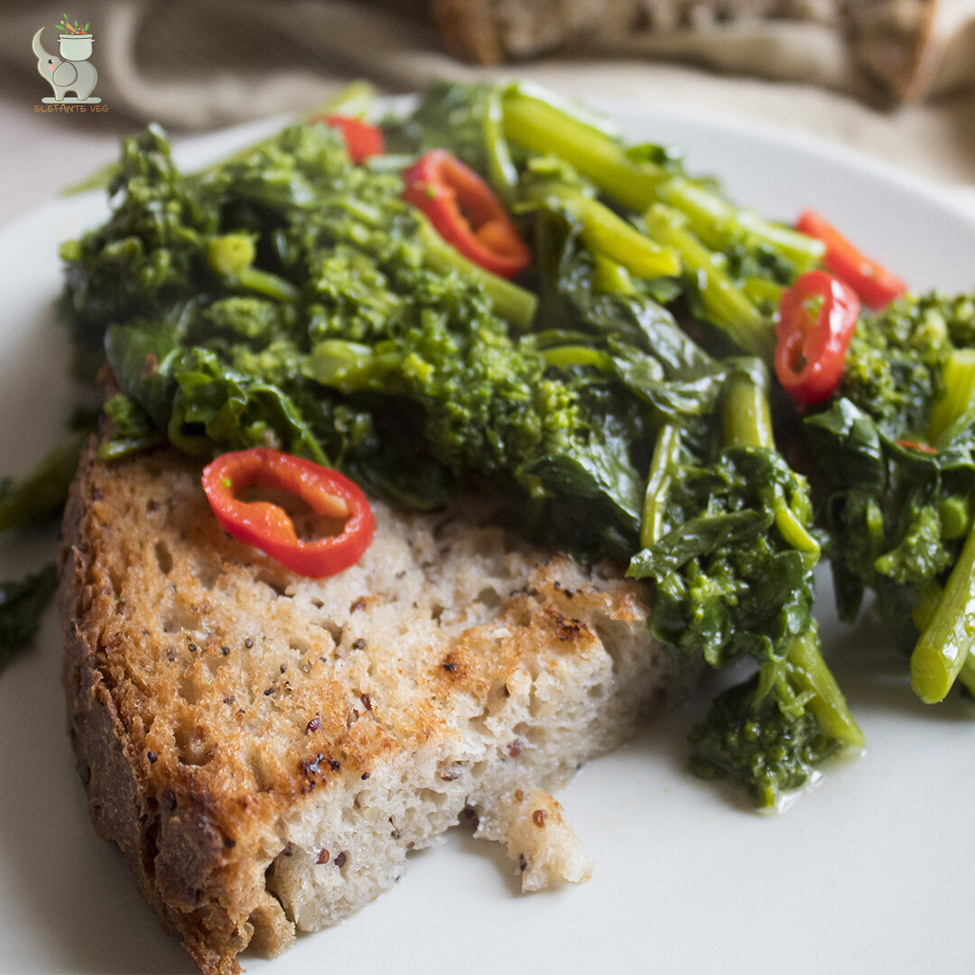 Pan cotto con cime di rapa