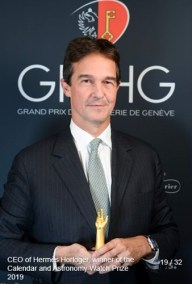 Laurent Dordet (Directeur Général Montre Hermès) winner of the calendar and astronomy watch prize 2019