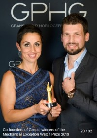 Sébastien Billières (Co-Fondateur & Horloger GENUS WATCHES) et Catherine Henry (Co-Founder & COO GENUS Watches) winners of the mechanical exception watch prize 2019