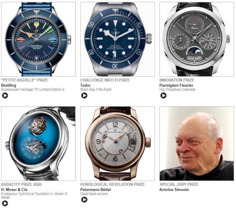 GPHG - Grand Prix de l Horlogerie de Geneve - Palmares 2020