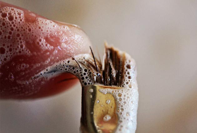 Another up close how to get into those bristles and clean your makeup brush photo