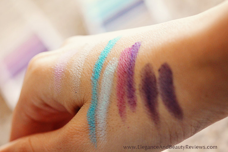Closeup photos of elf eyeshadows on my hand