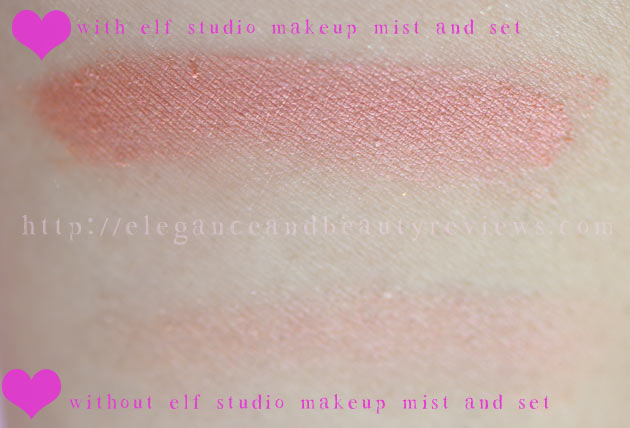 Look how much the elf studio makeup mist and spray intensified the color of this cheap eyeshadow!