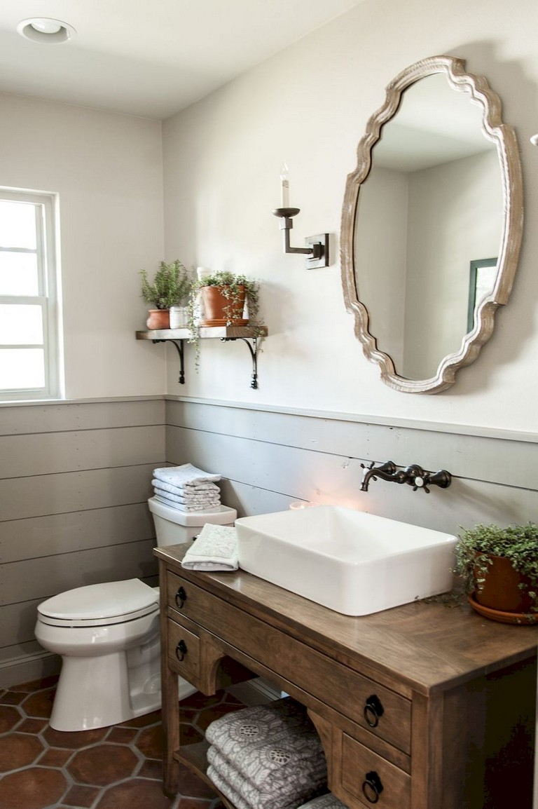 77+ Easy and Modern Farmhouse Bathroom Decor Ideas on Farmhouse Bathroom Ideas  id=94095