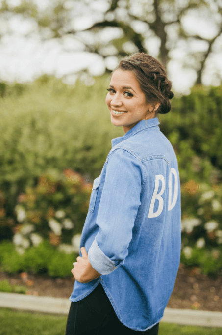 """Brides chambray top with decal on back that says """"Bride"""""""