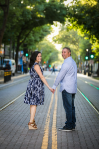 Engagement photos on street in downtown Sacramento