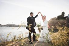 Bride and groom dancing oceanside in Vallejo, CA