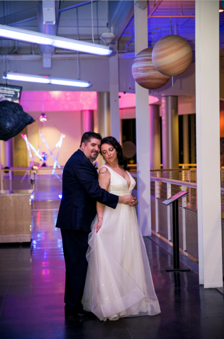 Wedding couple at Space & Rocket center